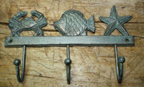 JumpingLight Cast Iron Nautical Towel Coat Hooks Hat Hook Key Starfish Fish Crab Rack Cast Iron Decor for Vintage Industrial Home Accessory Decorative Gift