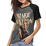 Bl-ak-e Sh-el-to-n Women's T-Shirt Round Neck Classic Baseball Short Sleeve T-Shirt Large Black