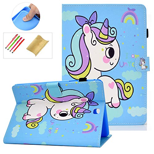 Coopts Galaxy Tab A 9.7 Cases and Covers for SM-T550/SM-P550, Colorful PU Leather Magnetic Cover with Multi-Angle Viewing Stand Shockproof Sleeve for Samsung Galaxy Tab A 9.7 inch 2015, Small Unicorn