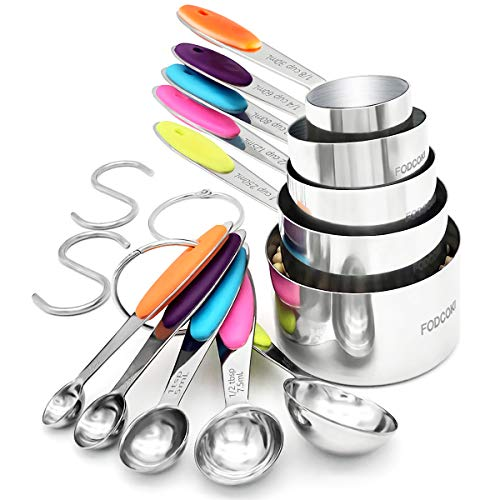 Measuring Cups and Spoons Set of 12 FODCOKI Real 188 Stainless Steel Measuring Spoons and Cups with Silicone Handle for Dry Liquid Ingredients Colorful