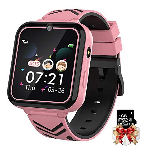 Smart Watch Telefon 1,57'' HD Touchscreen Kid Smart Watch mit Telefonanruf SOS Spiel Musik Kamera Recorder für Kinder von 3-12 Jahren für Jungen Mädchen Geburtstag(Inklusive 1 GB SD-Karte) (Rosa)