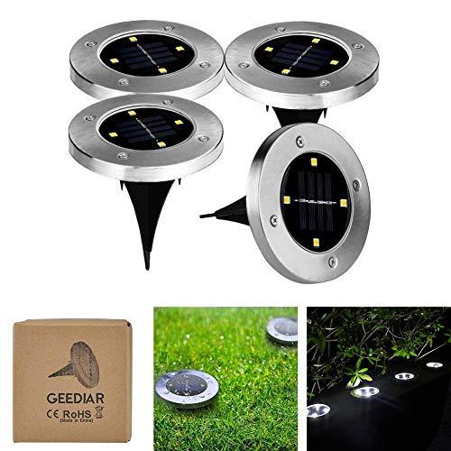 4 pcs Luz Solar Jardín de Tierra 4 LED 100LM, GEEDIAR Luces