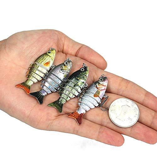 "WYYHAA Plastic Fishing Baits, 5Pcs 5Cm / 2"" 2.5G Bionic Realistic Hard Multi-Segments Bait for Bass Artificial Swimbait Freshwater Saltwater,5cm/2.5g"