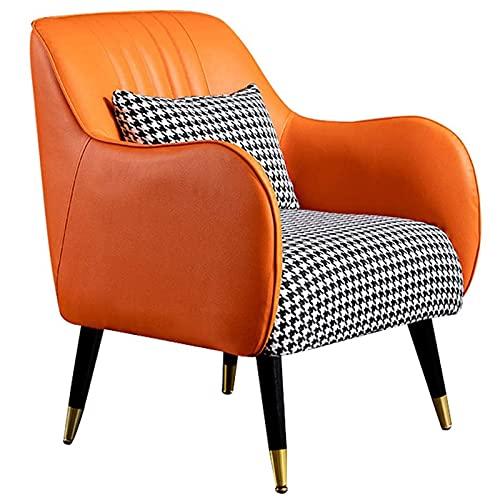 VERDELZ Silla Decorativa de Cuero Moderna, sofás Individuales cómodos de Mediados de Siglo, sillón Club con Respaldo Alto, para Dormitorio, Muebles de Sala, sillas Decorativas
