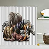 WILLMEIH duschvorhang Elefant Löwe Tiger Nashorn Tier 40