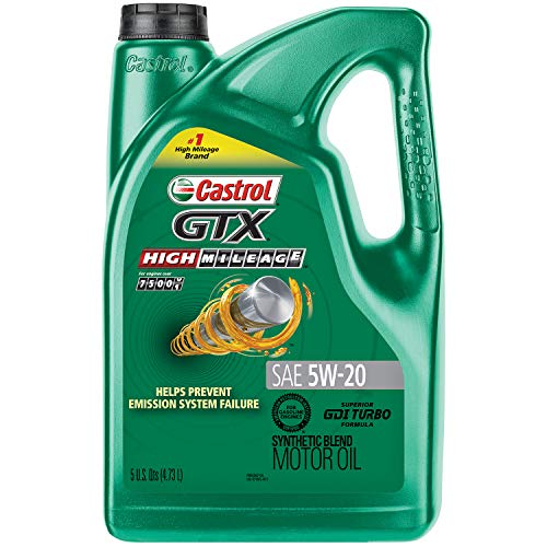 Castrol 03100 GTX High Mileage 5W-20 Synthetic Blend Motor Oil, 5...