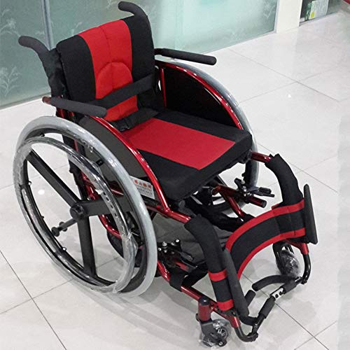 Rollstuhl Kind, Rollstühle mit Selbstantrieb Faltbar Kippschutz Mit Bremsen und dickere atmungsaktive Kissen Reiserollstuhl Sitzbreite 36cm Blau,Rot