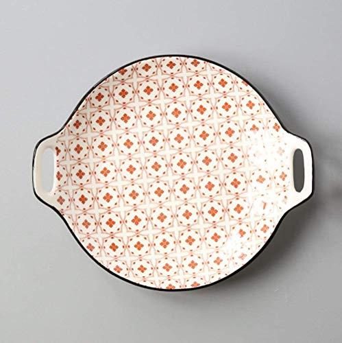 DJY-JY Porcelana Set Creativo Doble Oreja Placa De Cerámica Esmalte Color Simple Hogar 9 Pulgadas Platos Servir Plato Vajilla para Suministros De Cocina