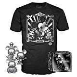 Funko Pop! 3 Pack & Tee: Disney - Mickey's 90th T-Shirt & Silver Steamboat Willie, Conductor, & Apprentice, Size Medium, Multicolor
