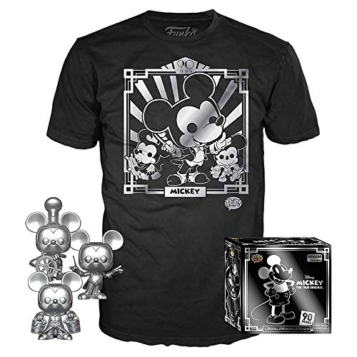 Funko Pop! 3 Pack & Tee: Disney – Camiseta 90 de Mickey y Silver Steamboat Willie, Director y Aprendiz, Amazon Exclusive, talla S