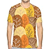 Autumn Forest Seamless Pattern Short Sleeve tee Novelty Teen Unisex T Shirt