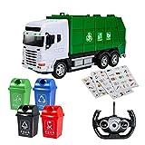 Camión de basura con control remoto, construcción de 2,4 Ghz, vehículo eléctrico de saneamiento, camión de gran tamaño para niño, con contenedor de basura, clasificación, coche de juguete, simula