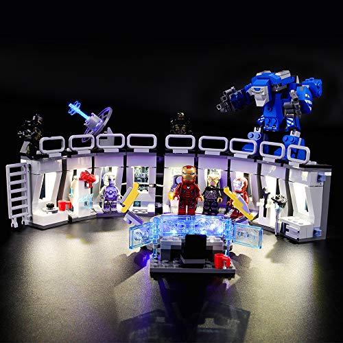 LIGHTAILING Conjunto de Luces (Super Heroes Iron Man Sala de Armaduras) Modelo de Construcción de Bloques - Kit de luz LED Compatible con Lego 76125 (NO Incluido en el Modelo)
