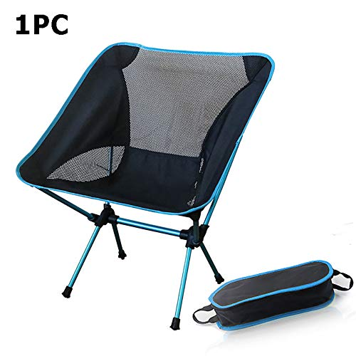 HXML Best Portable Camping Beach Chair Set of 2 Lightweight Folding Outdoor Fishing Chair for Parties, Picnics, Backyard,Sky Blue,2pcs