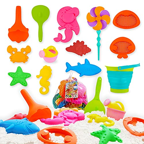 HACHET 12 Piece Beach Toys,Sand Toys for Toddlers Age 3-5, Bucket with Sifter, Collapsible Beach Bucket, Watering Can, Mermaid, Starfish,Windmill,Conch, Molds,Apply to Beach, Outdoor,Indoor,
