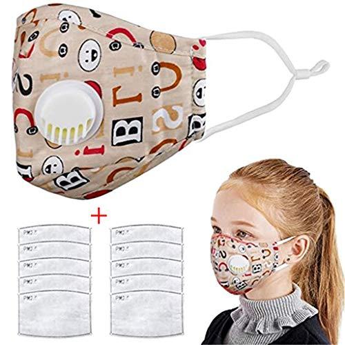 CRITY Algodón lavable al aire libre Niños Cubierta de la boca transpirable Protección de la cara completa con ganchos elásticos 10 PCS Filtros Reemplazos (Beige)