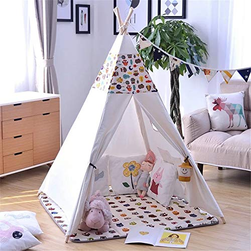 ZHJC Play Tent Interior Children's Tent Tent With Cushion Indoor and Outdoor Indian Tent Theater Cotton Canvas Tent With Window Easy to Assemble (Color : C2, Size : As shown)