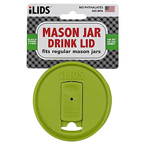 iLIDS Mason Jar Drink Lid, Regular Mouth, Lime Green, Pack of 2