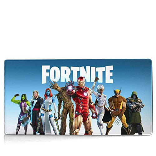 Large Gaming Mouse Pad for Fortnite Season 4 Battle Skins,Mousepad with Non-Slip Rubber Base & Stitched Edges,Waterproof Mouse Mat,Laptop Desk Pad,Computer Keyboard and Mice Combo Pads 23.6x11.8 inch