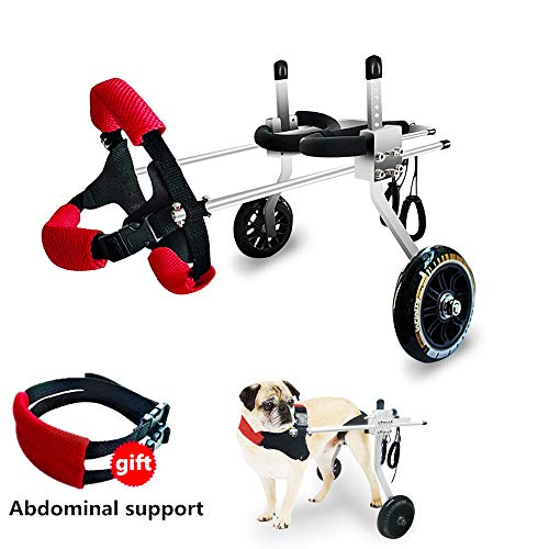 SYOSIN Adjustable Wheels Dog Wheelchair Cart Disabled Dog Assisted Walk Car for Hind Leg Rehabilitation, Lightweight Dog Cart for Back Legs ((XS:Height 5.9''-9.4'',Hip 5.5''-7.9''))