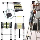 Escalera telescópica alta multiusos de aluminio extensible extensible escalera portátil plegable escalera Loft ático escalera recta 150 kg capacidad EN131 estándares dljyy