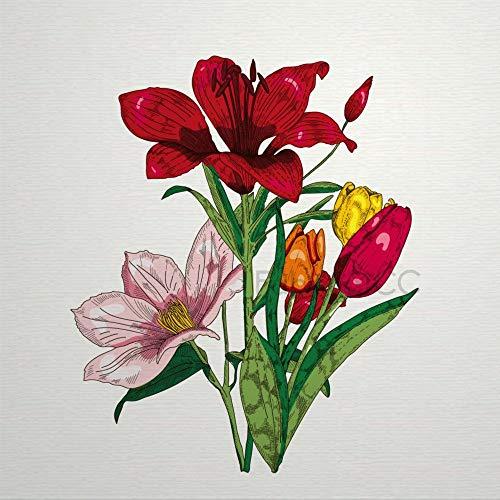 Juego de pegatinas decorativas para azulejos, diseño floral de botánica de acuarela Amaryllis Belladonna de 10,4 x 10,4 cm, vinilo impermeable para decoración del hogar