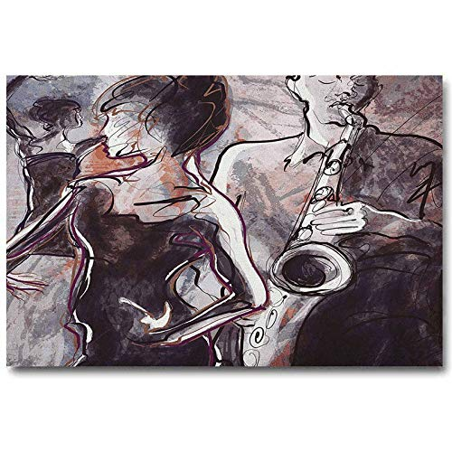 ScottDecor Music Farmhouse Wall Art Illustration of Jazz Man Playing The Saxophone with Dancers Classic Design Best Gifts Pink Black White L20 x H40 Inch