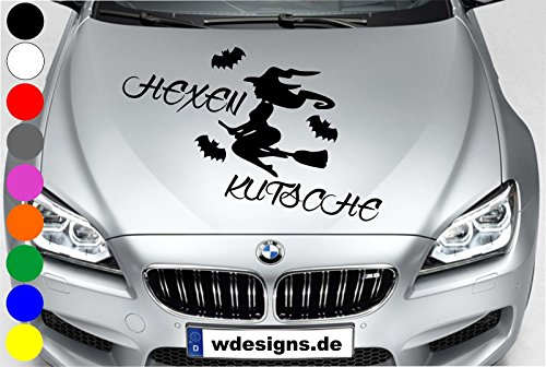 wDesigns Autoaufkleber Hexe HEXENKUTSCHE Fledermaus Tuning Aufkleber Motorhaube Spruch