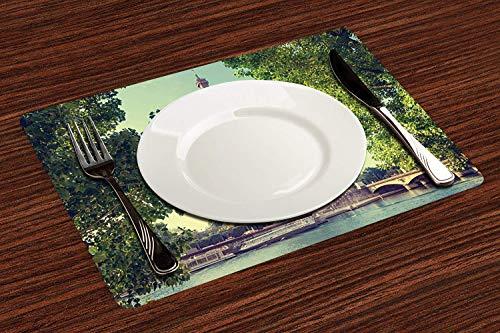 Manteles Individuales, Árbol de París, Torre Eiffel y botes en la vista de los árboles de,Mantel Individual Antideslizante Lavable Resistente Al Calor para Hoteles Restaurante Catering (Paquete de 4)