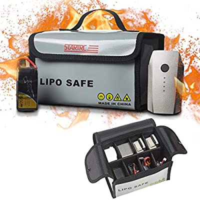 STARTRC LiPo Battery Bag Fireproof Safe Bag Safe Guard Explosionproof Pouch Sack for DJI FPV Lipo Battery 7.87x4.33x5.9 inch