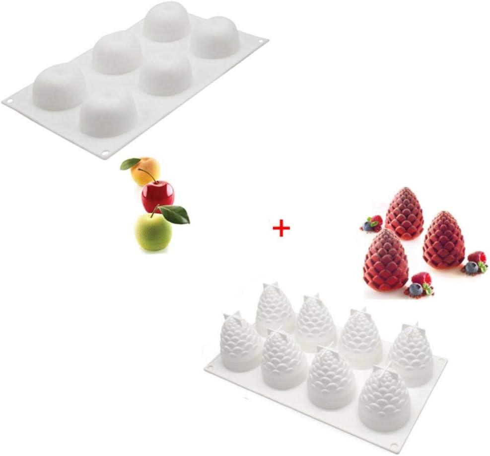 Molde de Chocolate de Silicona para Frutas Bandeja de Caramelos para Cubitos de Hielo para gelatina de Goma PUDSIRN 4 Uds moldes de Silicona de pi/ña y Fresa