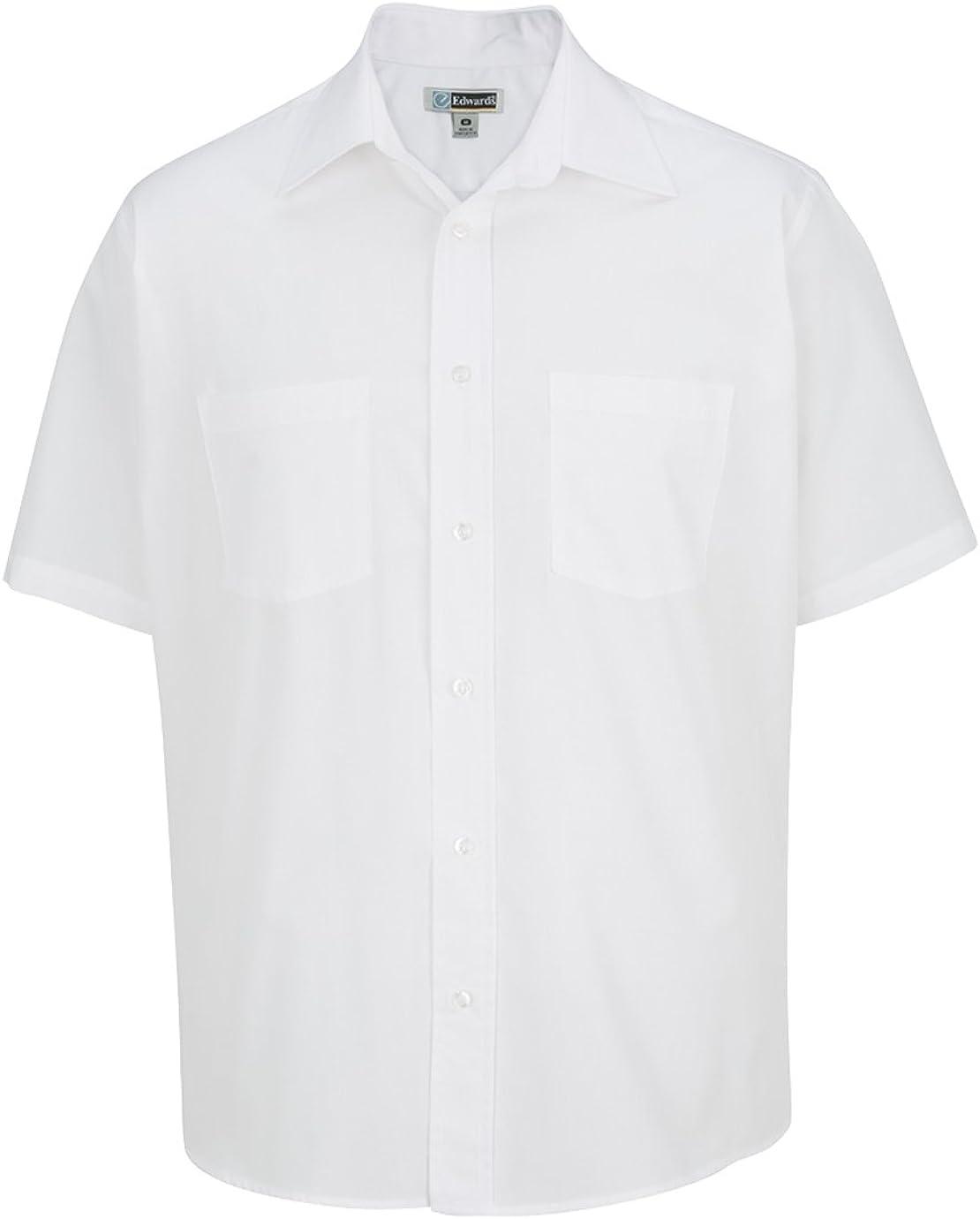 Edwards Men'S 2-Pocket Broadcloth Short Sleeve Shirt White L