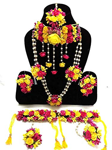 Savya Jewels Yellow and Pink Fabric Flower Jewellery Necklace 2 with Maang...