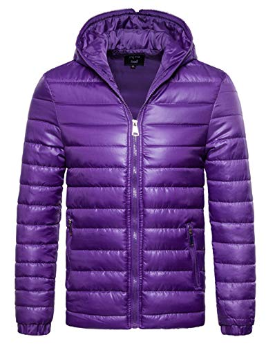 SOMTHRON Men's Winter Thermal Hooded Puff Parka Jacket Lightweight Zip Up Feather Down Jacket(PE-2XL) Lavender Purple
