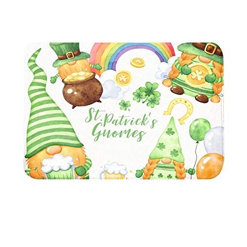 Oppal Día de San Patricio Felpudos de Bienvenida Alfombras para el hogar Alfombra de decoración Alfombra de Sala de Estar, Productos de baño para el Día de Pascua (Multicolor)