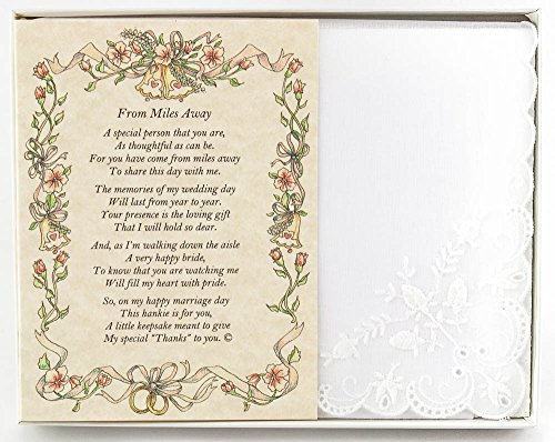 Wedding Handkerchief Poetry Hankie (For Bride's Out of Town Guest) White, Lace Embroidered Bridal Keepsake, Beautiful Poem | Long-Lasting Memento for the Bride's Out of Town Guest | Includes Gift Box