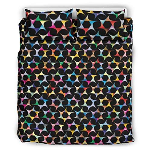 Conjuntos Retro 3 Piezas Almohada Arco Iris Color Patrón Suave Categorías Europeas Patrón Negro Color Decorativo Cama Almohada Conjunto Blanco 168x229cm