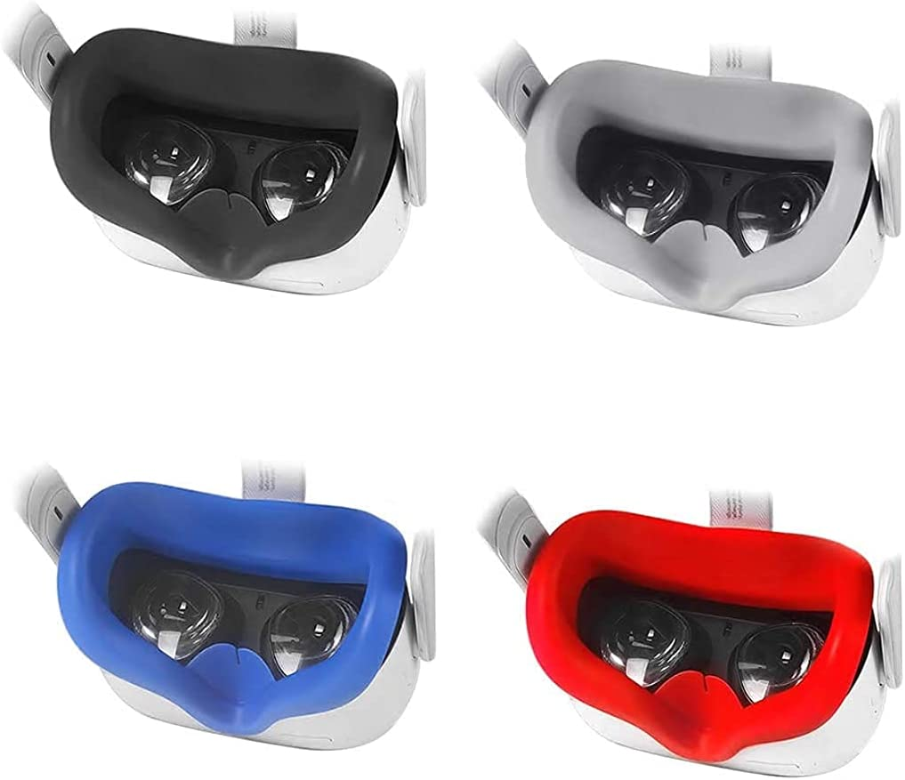 FORTITUDE Premium Silicone VR Face Pad for Oculus Quest 2 – Comfortable Face Cushion – Easy to Install and Clean – for a Better VR Experience – Black, White, Red, Blue (Blue)
