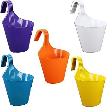 Kraft Seeds Plastic Flower Pot, 20.5cm x 13.5cm - Multicolour, 5 Pieces