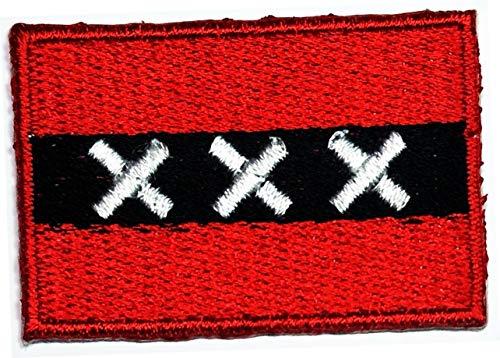 Mini-Flagge 2,8 x 4,1 cm Amsterdam-Flagge, bestickt, für Kleidung, Rucksäcke, T-Shirts, Jeans, Rock, Hut, Tasche, Patch, Aufkleber, Flagge, Country, Militär, taktische Stickerei, Handwerk (01)