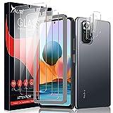 TAURI Schutzfolie Kompatibel Mit Xiaomi Redmi Note 10 Pro & Redmi Note 10 Pro Max 3 Stück Kamera Panzerglas & 3 Stück Schutzfolie Blasenfreie Folie 9H Festigkeit Klar HD Bildschirmschutz