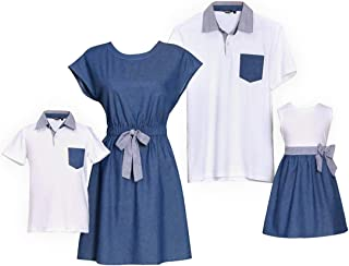 Mommy Me T-Shirt Bowknot Dress Family Matching Outfits Clothes