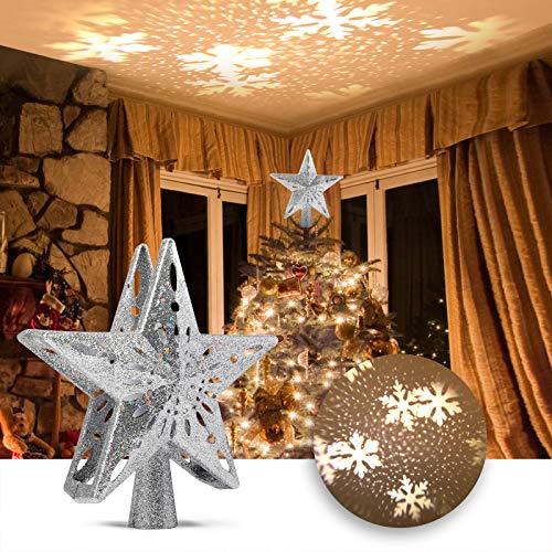 Delicacy Weihnachtsbaum Topper Projektor Xmas LED Sterne Schneeflocke Projektor, Sterne Schnee Projektor Licht, Weihnachten, Feiertag, Party, Heimkino, Spielzimmer, Innendekoration, Geschenk- Silber