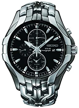 Seiko Men s SSC139 Excelsior Gunmetal and Silver-Tone Stainless Steel Solar Watch