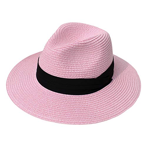 DRESHOW Sombrero de paja de Panamá para mujer Sombrero de playa de Fe