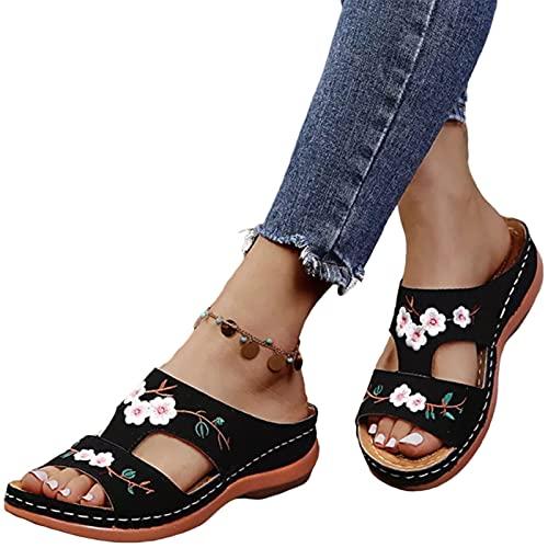 Finetoknow Sandalias de moda para mujer, de cuero, bordadas, estilo vintage, plantilla suave, ortopédica, soporte de arco, cómodas diapositivas para el hogar, al aire libre, playa