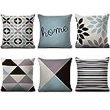 HBOS Juego de 6 fundas de cojín decorativas de lino de 45 x 45 cm, diseño de líneas geométricas, para sofá o oficina