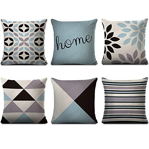 Inroserm 6er Pack Zierkissenbezüge Leinen Quadratische Kissenbezüge 45 x 45 cm für Sofa und Bett