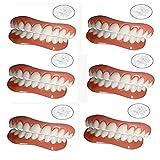 HYGLPXD Dentaduras de carillas instantáneas, prótesis de Dientes multifunción Conjunto de Reparación de Dientes Temporales Los Dientes Falsos Temporales,6 Pairs