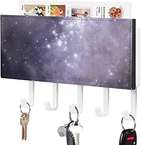 Soporte para llaves para gancho de pared, Beautiful Sky Galaxy Mysterious Nebula Planet, Soporte para correo de entrada a la pared, Estante organizador de llaves decorativo con 5 ganchos